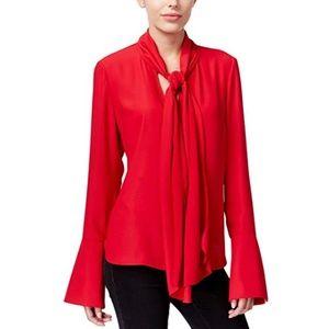 RACHEL Rachel Roy Red Tie Neck Bell Sleeve Top XL